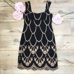 Nanette Lepore Black Embroidered Dress LBD Size 6
